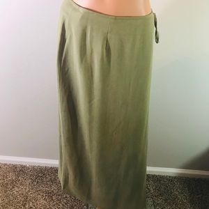 L.L Bean Wrap Maxi Skirt Womens Size 12 Silk Green